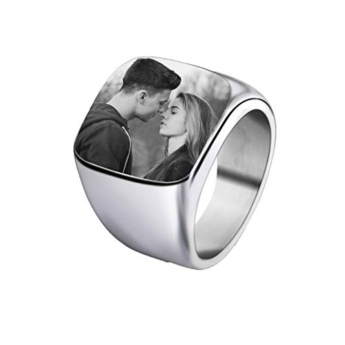 bishixiangenbaihuo Personalized Ring Photo Ring Customized Ring Couple Ring Silver Ring 4 Colors Optional Christmas Birthday Anniversary Personalized Gift(Silver 7.5)