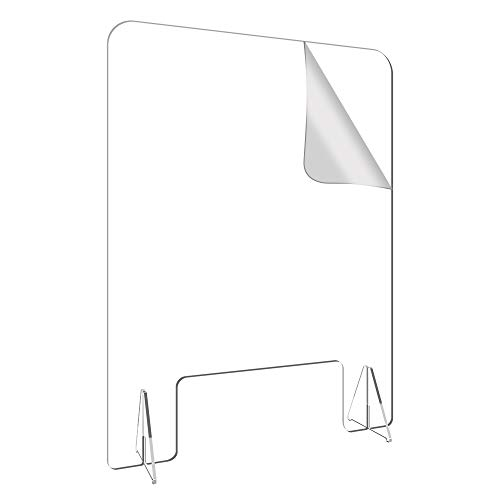 24'W - 32'H Plexiglass Sneeze Guard,Plexiglass Barrier Shield for Counter and Desk,Cough and Sneeze Guard with 6' Tall Opening Protective for Customers and Workers