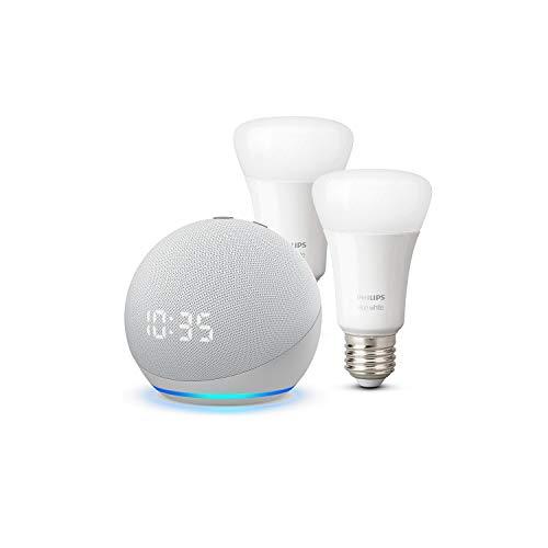 Der neue Echo Dot (4. Generation) mit Uhr, Weiß + Philips Hue White LED-Lampe Doppelpack (E27), kompatibel mit Bluetooth und Zigbee (kein Hub erforderlich)