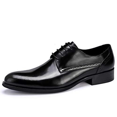 Lixiyu Derbyschoenen met punten tenen voor heren, veterschoenen van leer voor het bruiloftskantoor