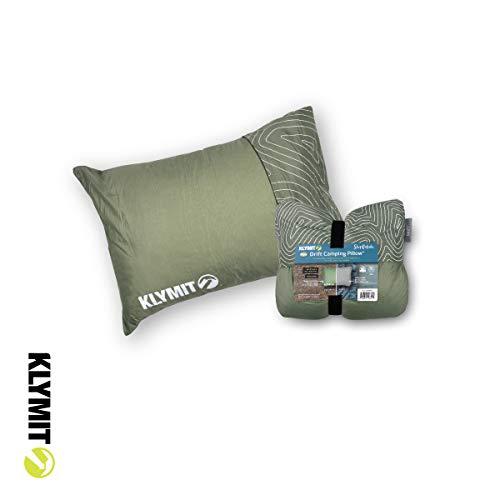 Klymit Drift Almohada de Acampada, Funda Reversible para Viajes y Dormir, Espuma viscoelástica triturada Comodidad con Carcasa Duradera, poliéster algodón Espuma, Verde, Normal