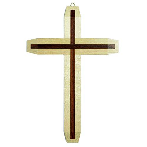 Kruzifix24 Devotionalier väggkors lönn natur kors inlägg murblomma mörk lackerad modern 25 x 17 x 1,5 cm smyckeskrin för väggen väggsmycke