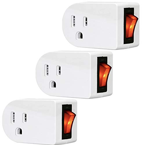 RAYZ 3 Prong Grounded Outlet Wall Tap Adapter with ON/Off Switch Single Port Plug Power - 3 PACK
