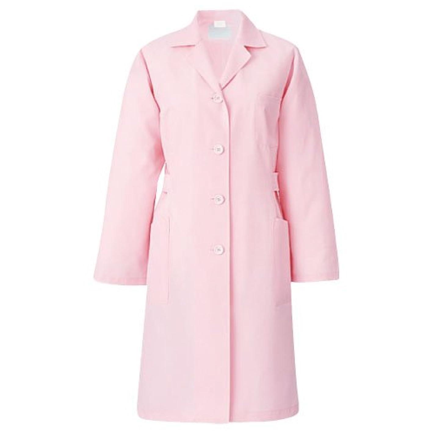 かろうじてレイプスカープ医療/介護ユニフォーム 長袖 レディス診察衣 KAZEN ピンク サイズ:S 261-93