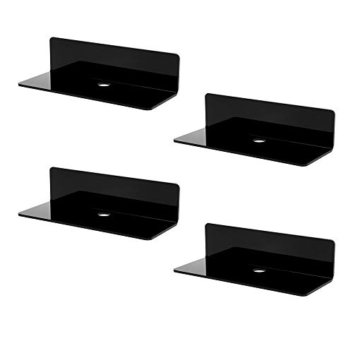 IEEK 4 PCS Small Acrylic Floating Wall Shelves,9 Inch Adhesive Display Shelf for Nintendo Switch/Smart Speaker/Security Cameras/Action Figures,No Damage Expand Wall Space,Black