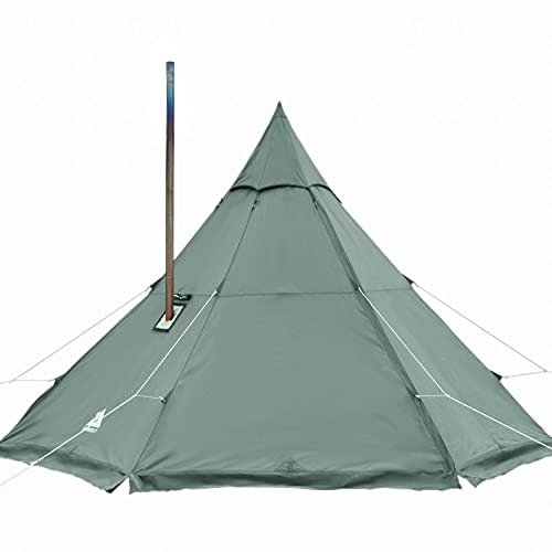 Pomoly HEX Plus Hot Tent Large Camping Tipi with Stove Jack 4 Season Waterproof Winter Warm Cold Weather Insulated Bushcraft, 4 5 6 Person