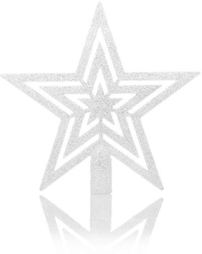 com-four® Weihnachtsbaumspitze Glitzer-Stern - Stern-Spitze für Weihnachtsbaum - Christbaumspitze für Jede Baumspitze - Weihnachtsstern bruchsicher (weiß)