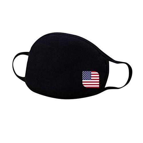Shineshae Wiederverwendbare Face Mundschutz aus Baumwolle Waschbar bis 90 Grad - Effizient Staubdicht Atemschutz Bandanas mit US Flaggen Motiv aus Stoff in schwarz (Schwarz) - 1 Stück