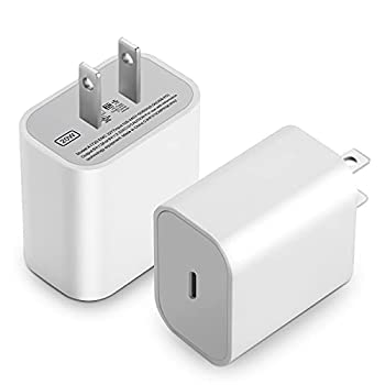 KAIMENGLONG 20W USB-C Power Adapter 2-Pack Fast Charging Block Type C Power Delivery Wall Charger Plug for iPhone 12 Mini 12 Pro Max SE 11 Pro Max Galaxy S20 Pixel 4 iPad Pro  Cable Not Included