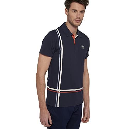 Roland Garros - Polo para Hombre de Manga Corta con Rayas Finas, Modelo Nemo-Azul Marino