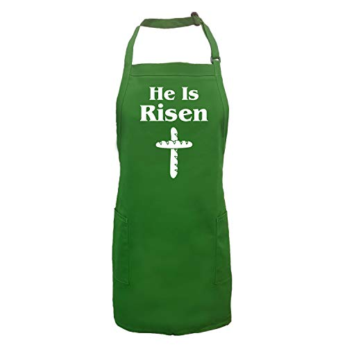 He Is Risen (Bread Cross) Apron with 2 patch pockets in Kelly Green - One Size