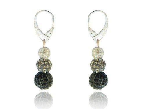 Shamballa Ohrringe Diskokugeln Schwarz Diamant Grau Weiß E436