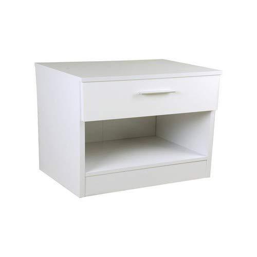 Home Source Ottawa Caspian Nachttisch, Hochglanz, Weiß/Weiß