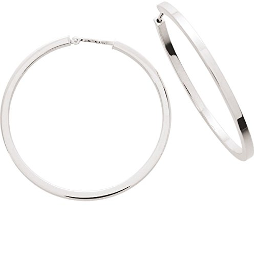 PEARL anelli-Orecchini a cerchio da donna in oro bianco e oro 18 carati, diametro 35 mm, spessore 2 mm, www.diamants-perles.com