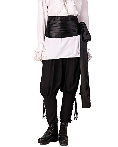 ThePirateDressing Pirate Medieval Renaissance Halloween Cosplay Costume Satin Large Sash (Black)