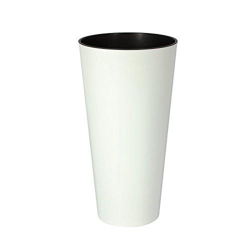 XL Flower TUBUS in Matt Weiß mit herausnehmbaren Einsatz aus robustem Kunststoff für Innen- und Außenbereiche. In Weiß Matt und XL Höhe von 57cm!