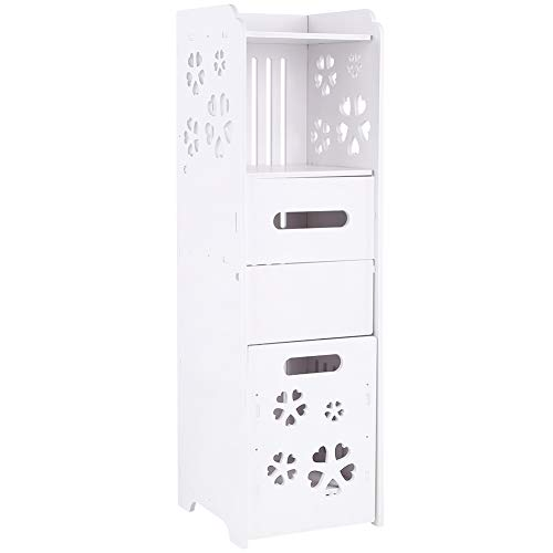 AYNEFY Badschrank Badezimmerschrank Weiß Badkommode Schmal Kommoden mit 1 offenem Fach und 2 Schublade Modern Eckschrank für Badezimmer Wohnzimmer Flur Schlafzimmer, 23 x 23 x 80 cm