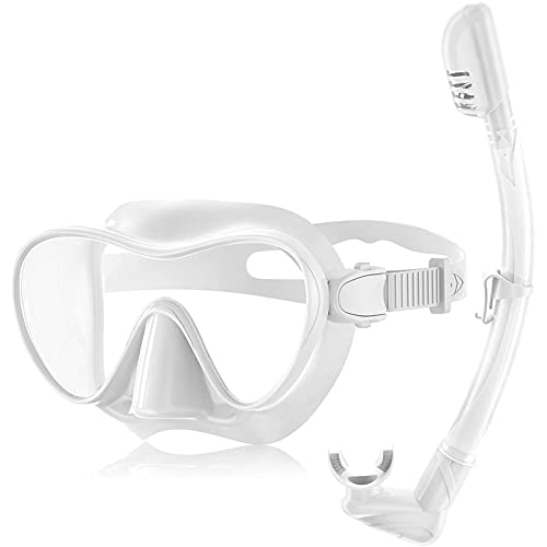 XDXT Máscara de Buceo sin Marco a Prueba de Fugas, Lente de Cristal Templado Anti-Niebla, Tubo de Snorkel fácil de Respirar, Vista panorámica de Ancho para Adultos Gafas White