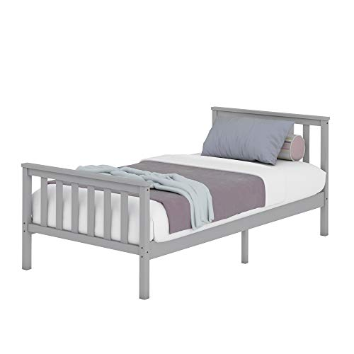 Storeinuk 3FT/4FT6 Grey Solid Pine Wood Platform Bedstead,Wooden Frame For Adults, Kids, Teenagers (3FT Single Bed)
