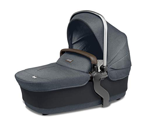 Silver Cross Wave Baby Carrycot, Overnight Stroller Double Pushchair Accessory, Bassinet with Fully Extendable Hood and Apron, Newborn to 6 Months – Slate