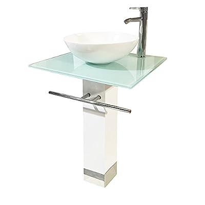 "QIERAO 23"" Bathroom Vanity Set Tempered Glass Pedestal Sink for Save Bathroom Space"