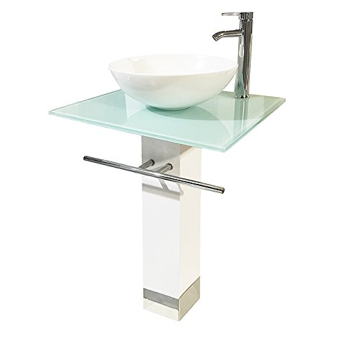 QIERAO Bathroom Vanity Set Tempered Glass Pedestal Sink for Save Bathroom Space