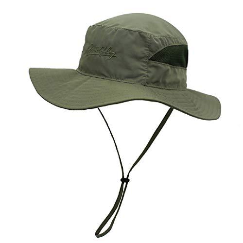 Decentron Damen Mesh Boonie Sonnenhut breite Krempe UV-Schutz Strand Angeln Hut Gr. L, armee-grün