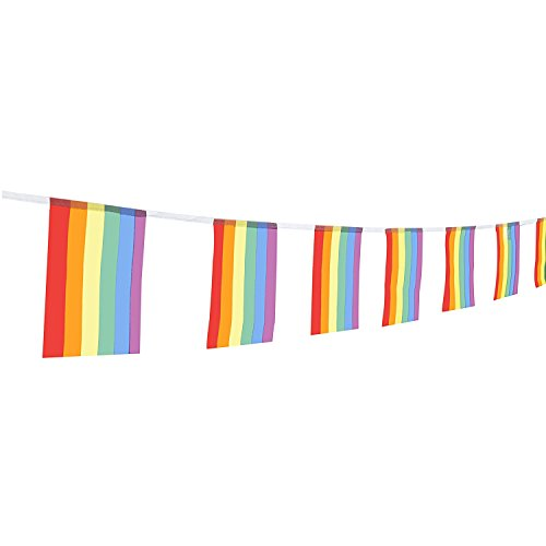TSMD 100 Feet Rainbow Flag LGBT Pride Flag 76Pcs Indoor/Outdoor Human Rights Gay Lesbian Pride Flag Decorations(8.2' x 5.5'')