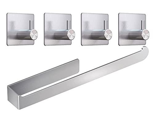 Toalleros de baño,toalleros de baño sin Taladro de Baño y Cocina, Acero Inoxidable 37cm+4 Ganchos Autoadhesivos