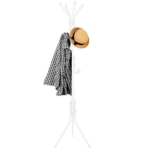 SPRINGOS Garderobenständer|12 Hacken|Weiß |Kleiderständer|Freistehende Garderobe|Ordnungshelfer|Möbelstück|Ordnungssystem (Weiß)