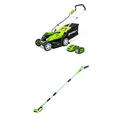 Greenworks 14-Inch 40V Cordless Lawn Mower with 8.5' 40V Cordless Pole Saw Battery Not Included 20302 -  Sunrise Global Marketing, LLC