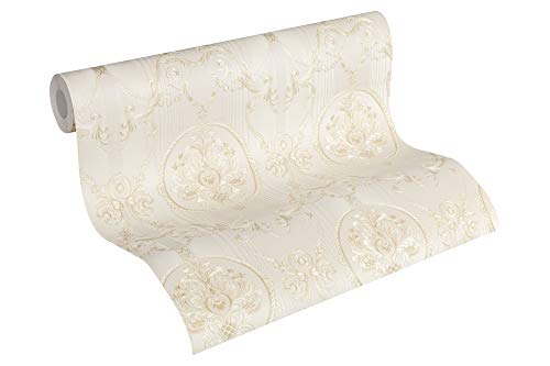A.S. Création Vliestapete Hermitage 10 Tapete klassisch neo-barock 10,05 m x 0,53 m beige creme metallic Made in Germany 330832 33083-2