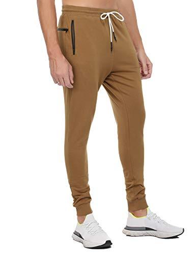 Sykooria Pantalones Deportivos de Algodón para Hombres Pantalón Chándal con Bolsillos y Trabillas para Toallas Jogger Entrenamiento Ciclismo Correr