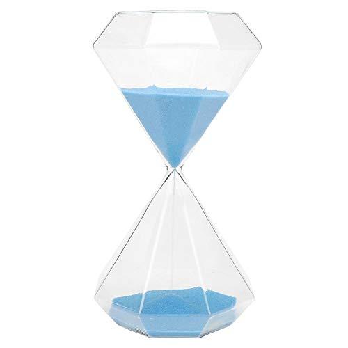 Reloj de arena azul Reloj de arena 30 minutos, reloj de arena innovador en forma de diamante Reloj de arena Adorno de escritorio de vidrio de arena, para decoración de escritorio, hogar, oficina, rega