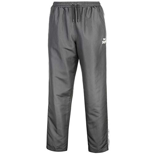 Lonsdale Herren 2 Streifen Trainingshose Leicht Gewebt Sporthose Jogginghose Hose Charcoal/Weiss Medium