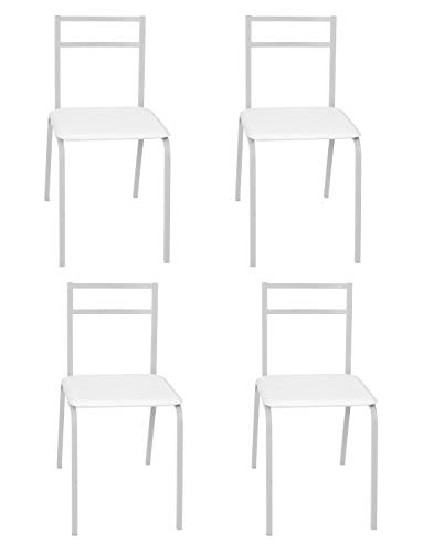 Lote 4 sillas Cocina Blancas Estructura Acero Asiento Poliuretano apilables 40x80x56 cm