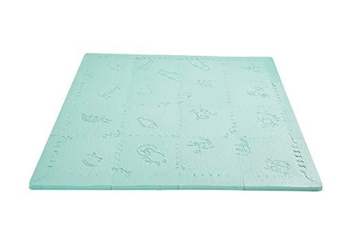 LuBabymats Mini - Alfombra puzzle de viaje para bebés, suelo extra acolchado de Foam (EVA). Medida: 110x110 cm. Color mint