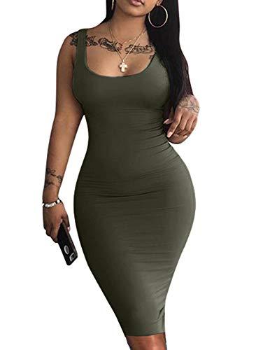 LAGSHIAN Women's Sexy Bodycon Tank Dress Sleeveless Basic Midi Club Dresses Olive