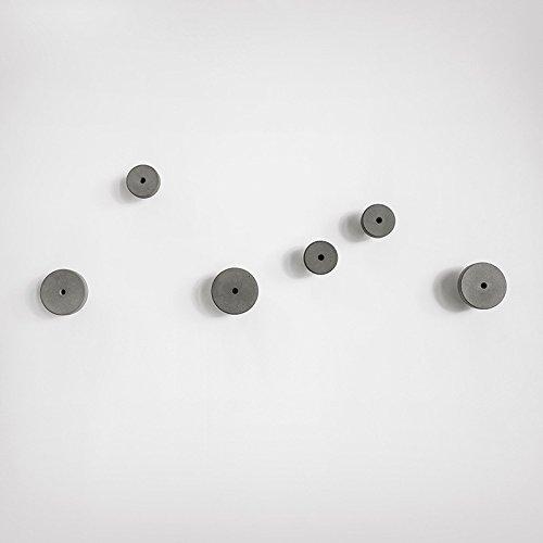 anaan Decimal Diseño Perchero Pared Hormigón Concreto Colgador Abrigos Redondo Gancho Pared Pasillo Moderno Decorativo nordico Estilo Industrial (1x Gris L Φ8,5cm)