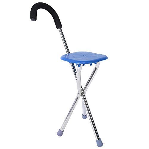Brrnoo Taburete con trípode de bastón para Caminar, Plegable de Acero Inoxidable, Engrosamiento, bastón para Caminar para Ancianos, bastón Plegable Ajustable con Asiento, bastón