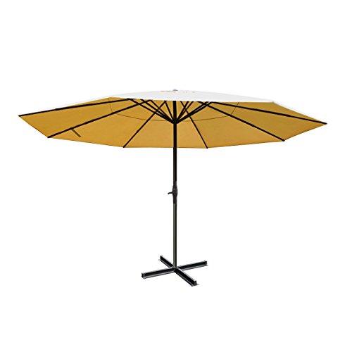 Sonnenschirm Meran Pro, Gastronomie Marktschirm ohne Volant Ø 5m Polyester/Alu 28kg - Creme ohne Ständer