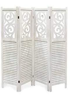 Gicos Separè in Legno 4 Pannelli da 40 cm Altezza 160 * 170 cm Colore Bianco Shabby Chic EDT-787973
