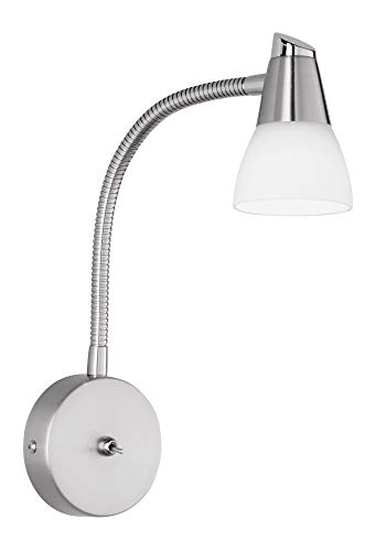 Reality Leuchten R8819-07 Halogen-Wandspot G9, mit Flexarm, in nickel matt, Glas in weiß
