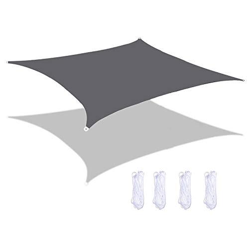 MEEYI Tenda da Vela Parasole Impermeabile, Vela Ombreggiante Rettangolare, Antivento Impermeabile Parasole E Protezione Raggi UV 95%, per Esterni Cortile Giardino Grigio 6X8m
