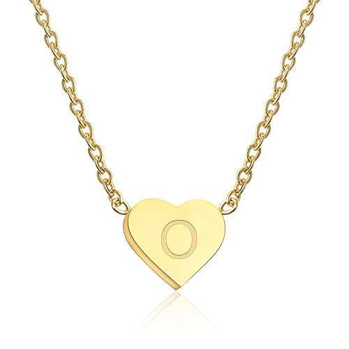 Good.Designs ® Damen Halskette mit kleinem Herz-Anhänger (mit Buchstabe) Goldene Herzkette mit Initialen O Olga Olivia Olaf Ole Oliver Oskar Otto
