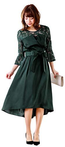 [アールズガウン]ワンピース 結婚式 ドレス 大きいサイズ 袖あり 長袖 レース 膝下 ミモレ パーティードレス 二次会 同窓会 謝恩会 FD-1852205 (L, グリーン)