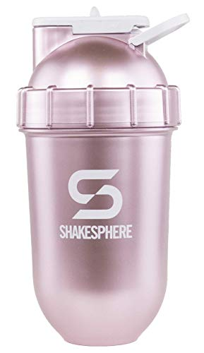 ShakeSphere Tumbler: Award Winning Protein Shaker Cup, 24oz ● Patented Capsule Shape Mixing ● Easy to Clean ● No Blending Ball Needed ● BPA Free ● Mix & Drink Shakes, Protein Powders (Rose Gold)
