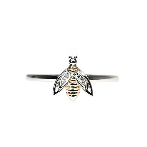 Clogau Gold Welsh Womens 925 Sterling Silver and Rose Gold Honey Bee Ring (O)