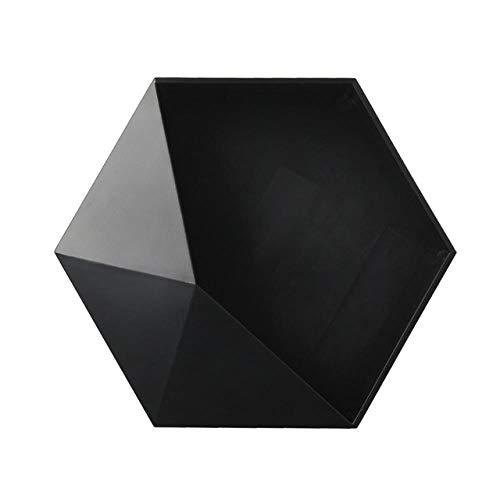 Estante de almacenamiento hexagonal geométrico de estilo nórdico Montaje en pared Estante flotante Estante para maceta Estantes colgantes Decoración de pared en estantes decorativos, negro