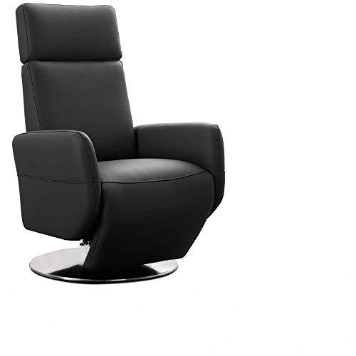 Cavadore TV-Sessel Cobra / Fernsehsessel mit Liegefunktion, Relaxfunktion / Stufenlos verstellbar / Ergonomie L / Belastbar bis 130 kg / 71 x 112 x 82 / Echtleder Schwarz